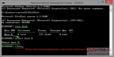 Создание разделов на жестком диске с помощью утилиты DiskPart